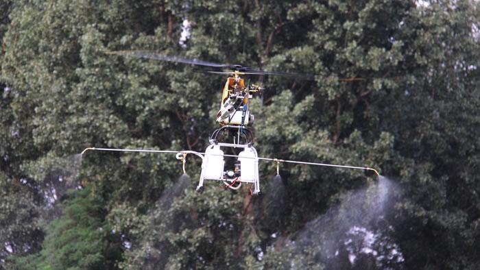 """""""快看直升飞机打药了!""""随着一阵欢呼一架小型无人驾驶直升机轻盈地飞到了四十五团十七连的玉米地上空约五米高的地方紧接着一排绿色的小喷头开始喷洒出一团团白色的雾气。这在当地可是新鲜事连队的职工群众听到消息后纷纷赶来观看飞机如何打药。 据了解,去年冬季气温较往年偏高有利于红蜘蛛等害虫的越冬预计其发生较往年偏早、偏重随着近日气温的上升虫情发展将有所加快。为有效防止病虫害的发生,四十五团十七连在该团党委的安排下,邀请江苏飞瑞航空科技有限公司技术人员,前来该连进行无人机打药防治。 玉米地旁两位"""